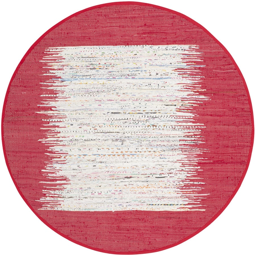 Safavieh Montauk Keeling Ivory/Red Round Indoor Handcrafted Coastal Area Rug (Common: 4 x 4; Actual: 4-ft W x 4-ft L x 4-ft dia)