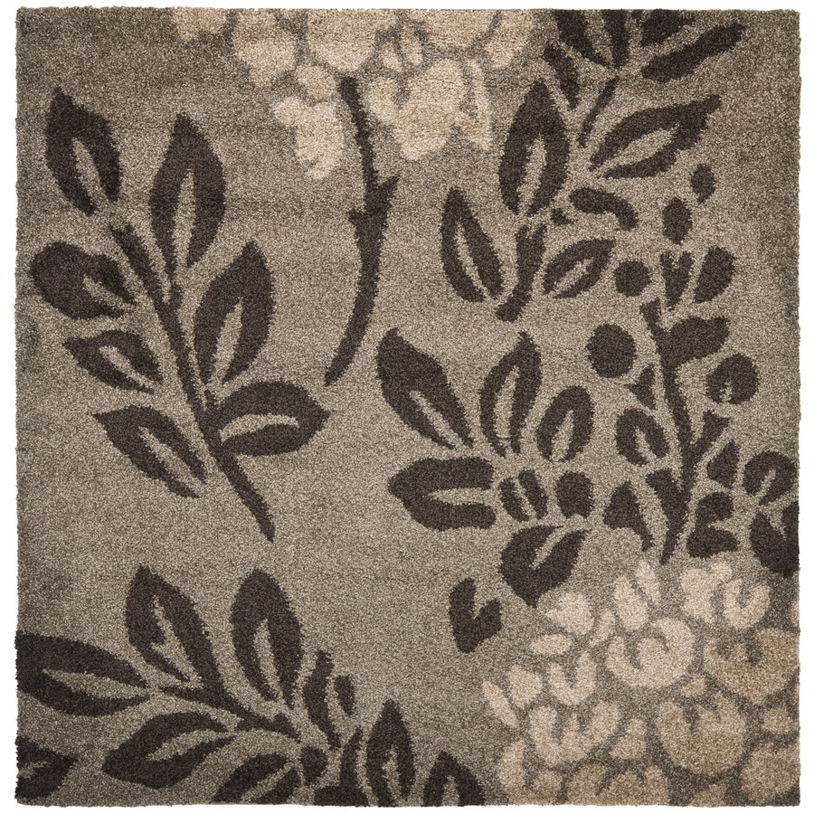 Safavieh Florida Shag Smoke/Dark Brown Square Indoor Machine-Made Area Rug