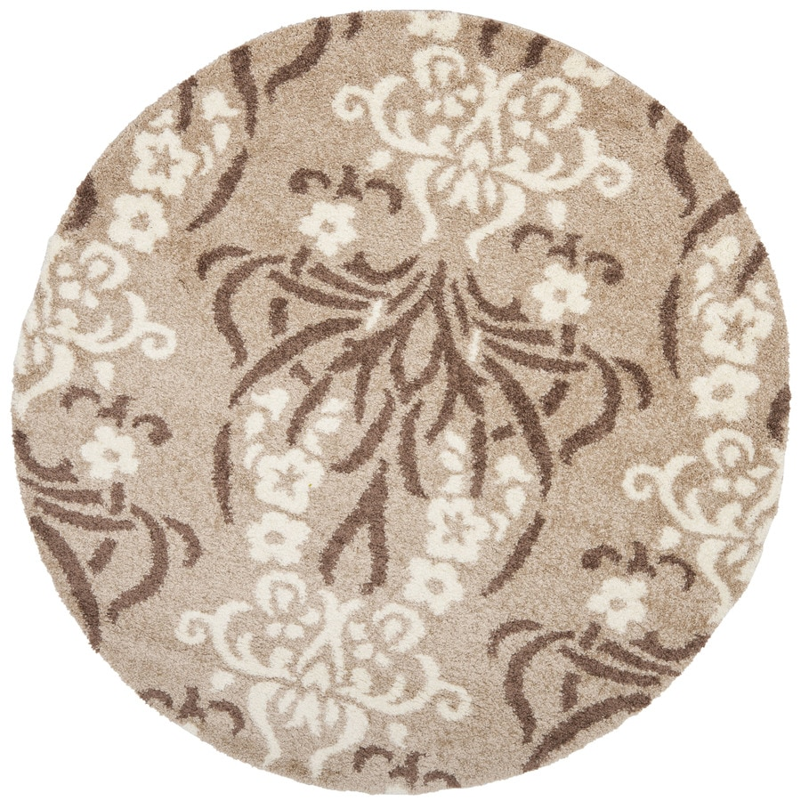 Safavieh Roxy Shag Beige/Cream Round Indoor Tropical Area Rug (Common: 7 x 7; Actual: 6.7-ft W x 6.6-ft L x 6.6-ft dia)
