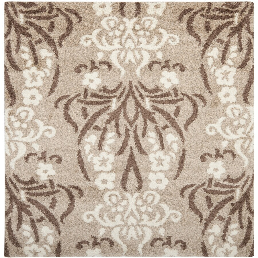Safavieh Florida Shag Beige/Cream Square Indoor Machine-Made Area Rug