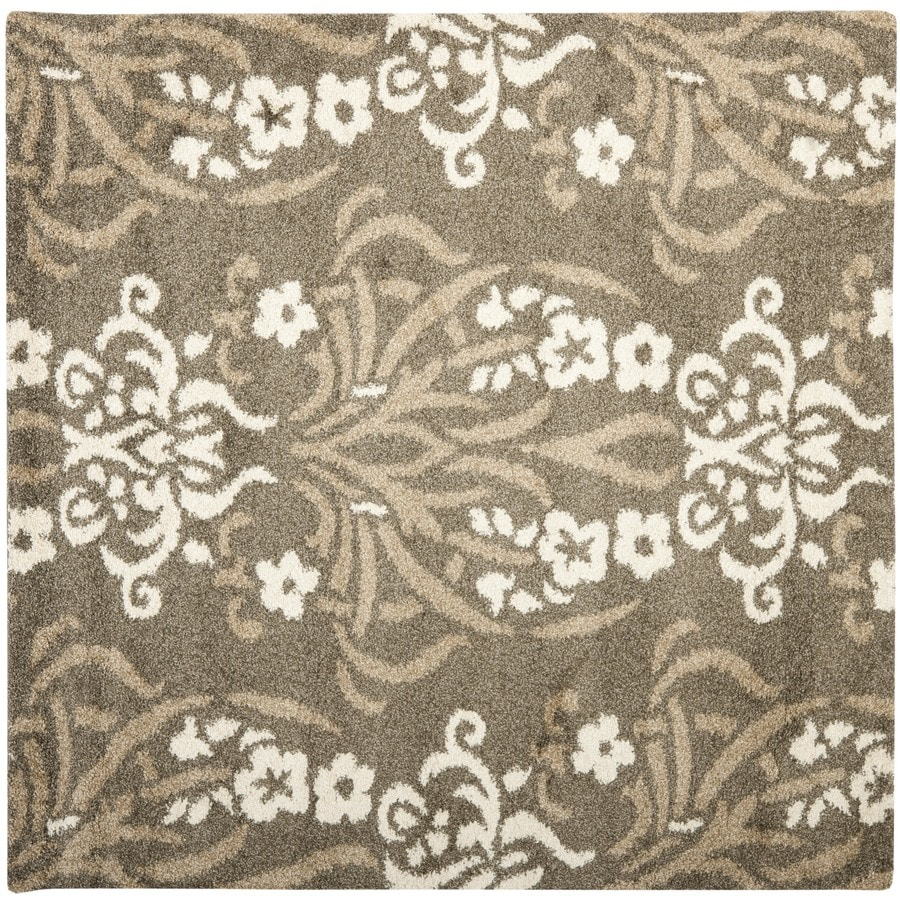 Safavieh Florida Shag Smoke/Beige Square Indoor Machine-Made Tropical Area Rug (Common: 6 x 6; Actual: 6.583-ft W x 6.583-ft L)