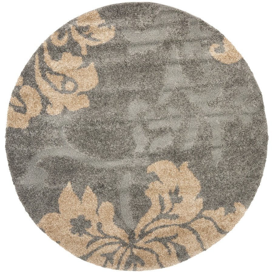 Safavieh Florida Shag Gray/Beige Round Indoor Machine-Made Tropical Area Rug (Common: 6 x 6; Actual: 6.583-ft W x 6.583-ft L x 6.583-ft dia)