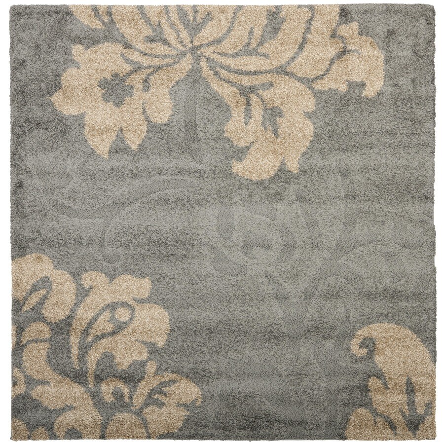 Safavieh Votive Shag Gray/Beige Square Indoor Machine-made Tropical Area Rug (Common: 6 x 6; Actual: 6.583-ft W x 6.583-ft L)