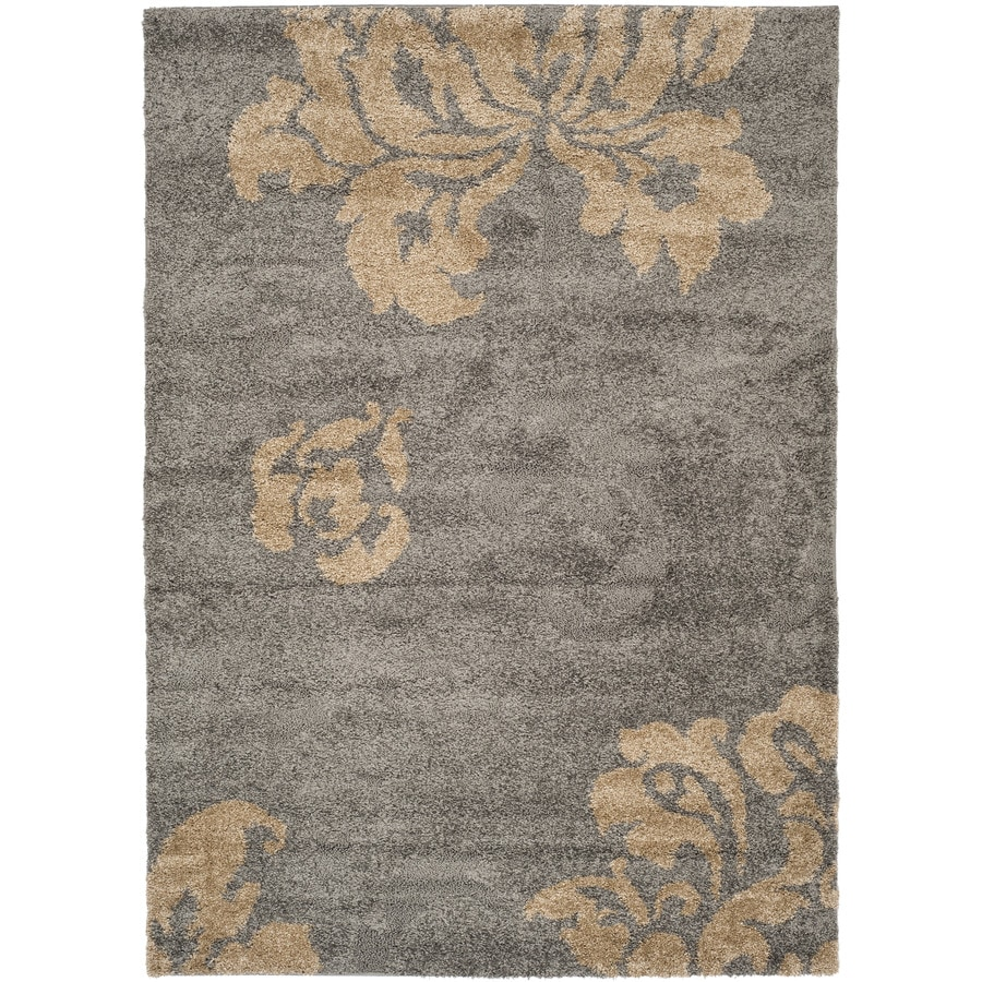 shop safavieh votive shag gray beige indoor tropical area rug common 9 x 12 actual 8 5 ft w. Black Bedroom Furniture Sets. Home Design Ideas