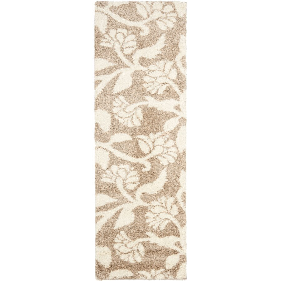 Safavieh Koi Shag Beige/Cream Rectangular Indoor Machine-made Tropical Runner (Common: 2 x 7; Actual: 2.25-ft W x 7-ft L)