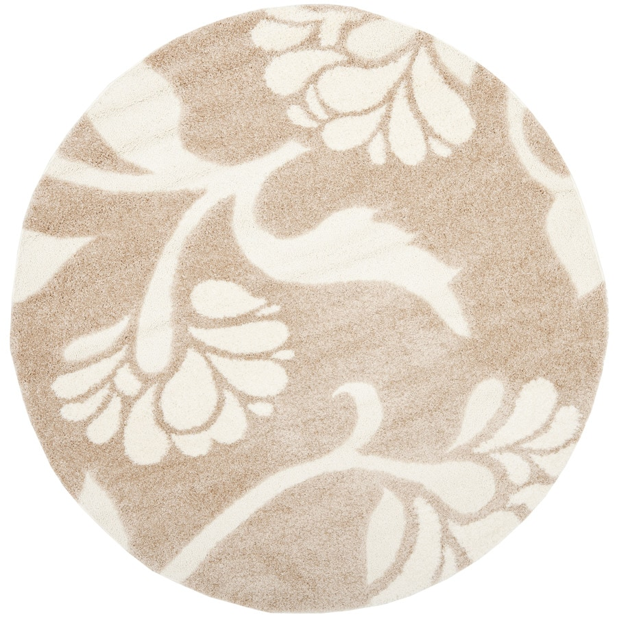 Safavieh Florida Shag Beige/Cream Round Indoor Machine-Made Tropical Area Rug (Common: 6 x 6; Actual: 6.583-ft W x 6.583-ft L x 6.583-ft Dia)