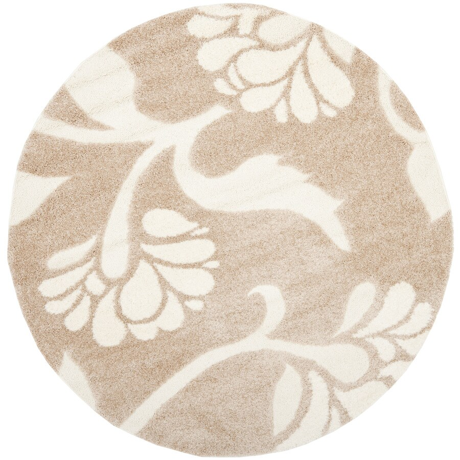 Safavieh Koi Shag Beige/Cream Round Indoor Machine-made Tropical Area Rug (Common: 6 x 6; Actual: 6.583-ft W x 6.583-ft L x 6.583-ft Dia)