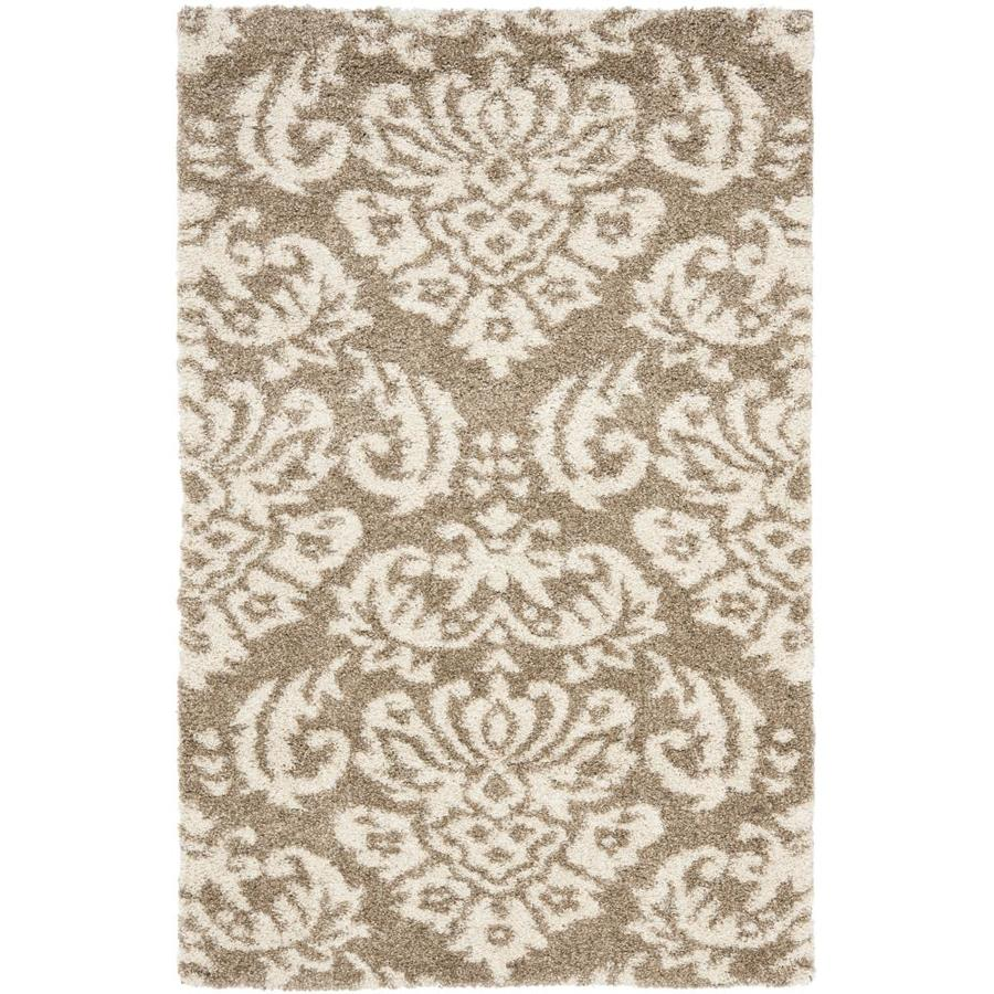 Safavieh Balin Shag Beige/Cream Indoor Tropical Throw Rug (Common: 3 x 5; Actual: 3.25-ft W x 5.25-ft L)