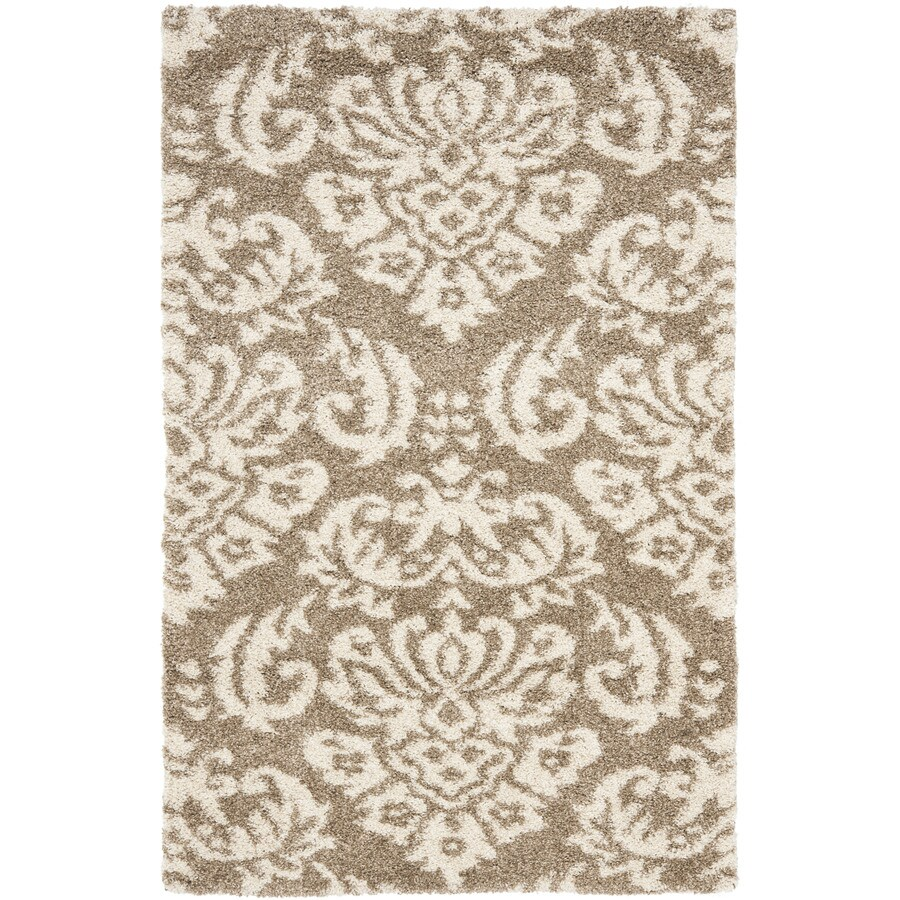 Safavieh Balin Shag Beige/Cream Indoor Tropical Area Rug (Common: 9 x 12; Actual: 8.5-ft W x 12-ft L)