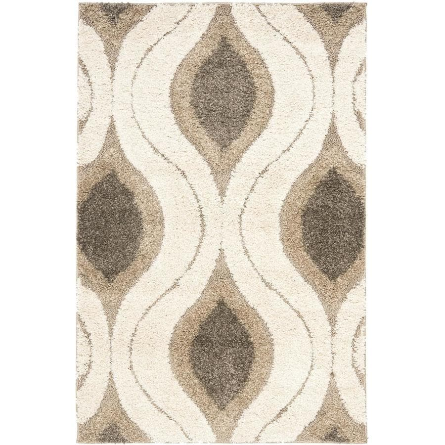 Safavieh Arcell Shag Cream/Smoke Rectangular Indoor  Tropical Throw Rug (Common: 3 x 5; Actual: 3.25-ft W x 5.25-ft L)