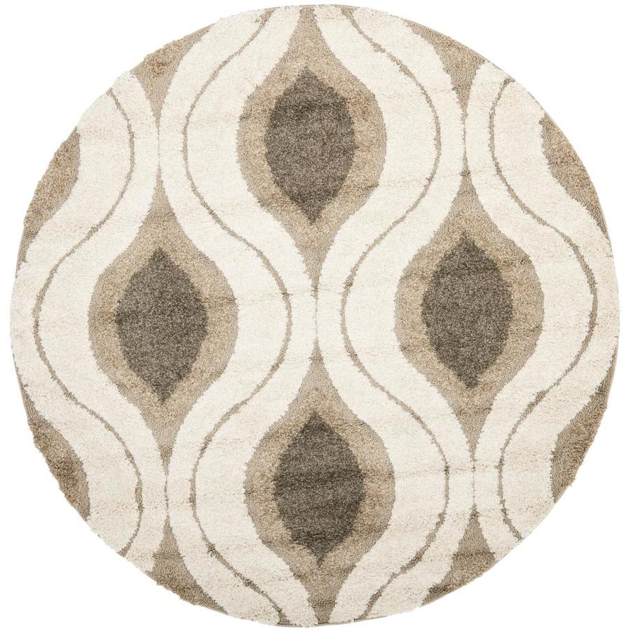Safavieh Florida Shag Cream/Smoke Round Indoor Machine-Made Tropical Area Rug (Common: 6 x 6; Actual: 6.583-ft W x 6.583-ft L x 6.583-ft Dia)