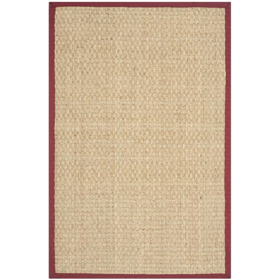 Safavieh Natural Fiber Natural and Red Rectangular Indoor Machine-Made Coastal Throw Rug (Common: 3 x 5; Actual: 3-ft W x 5-ft L x 0-ft Dia)