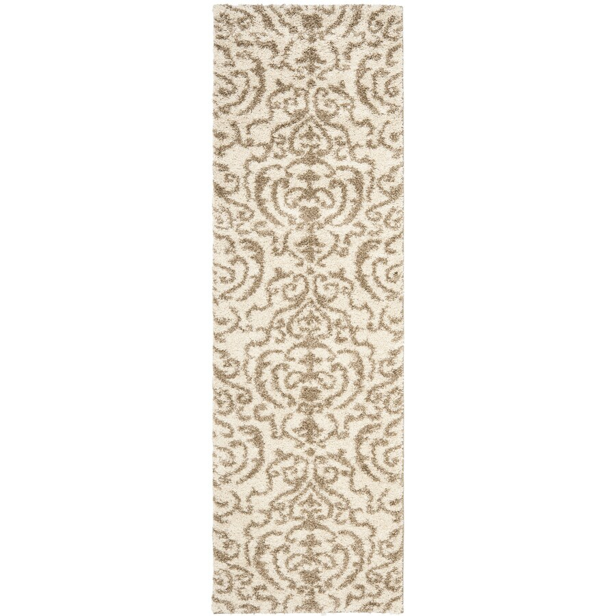 Safavieh Florida Shag Cream/Beige Rectangular Indoor Machine-Made Tropical Runner (Common: 2 x 7; Actual: 2.25-ft W x 7-ft L x 0-ft Dia)