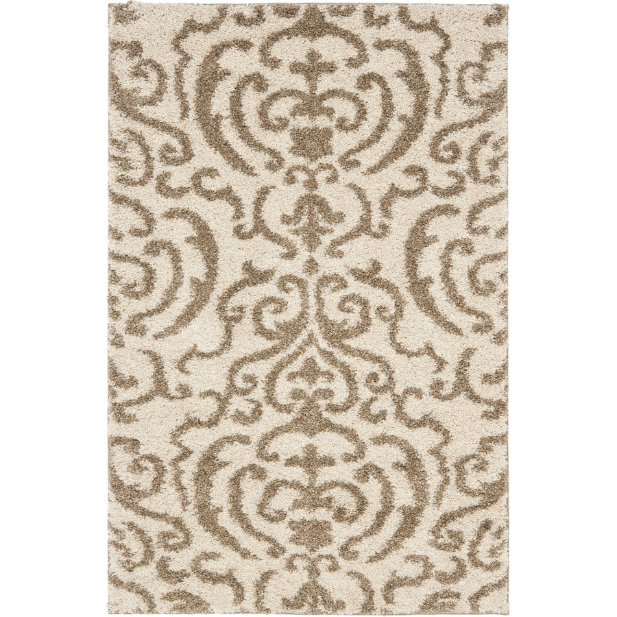 Safavieh Florida Shag Cream/Beige Rectangular Indoor Machine-Made Tropical Throw Rug (Common: 3 x 5; Actual: 3.25-ft W x 5.25-ft L)