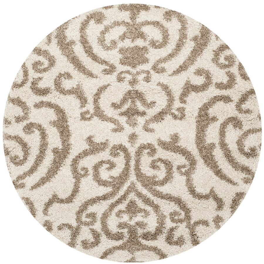 Safavieh Florida Shag Cream/Beige Round Indoor Machine-Made Area Rug (Actual: 6.583-ft dia)