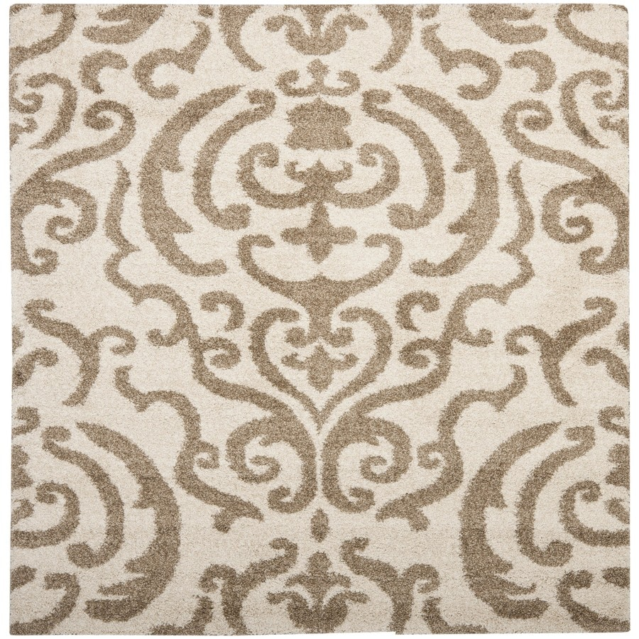 Safavieh Rania Shag Cream/Beige Square Indoor Machine-made Tropical Area Rug (Common: 6 x 6; Actual: 6.583-ft W x 6.583-ft L)