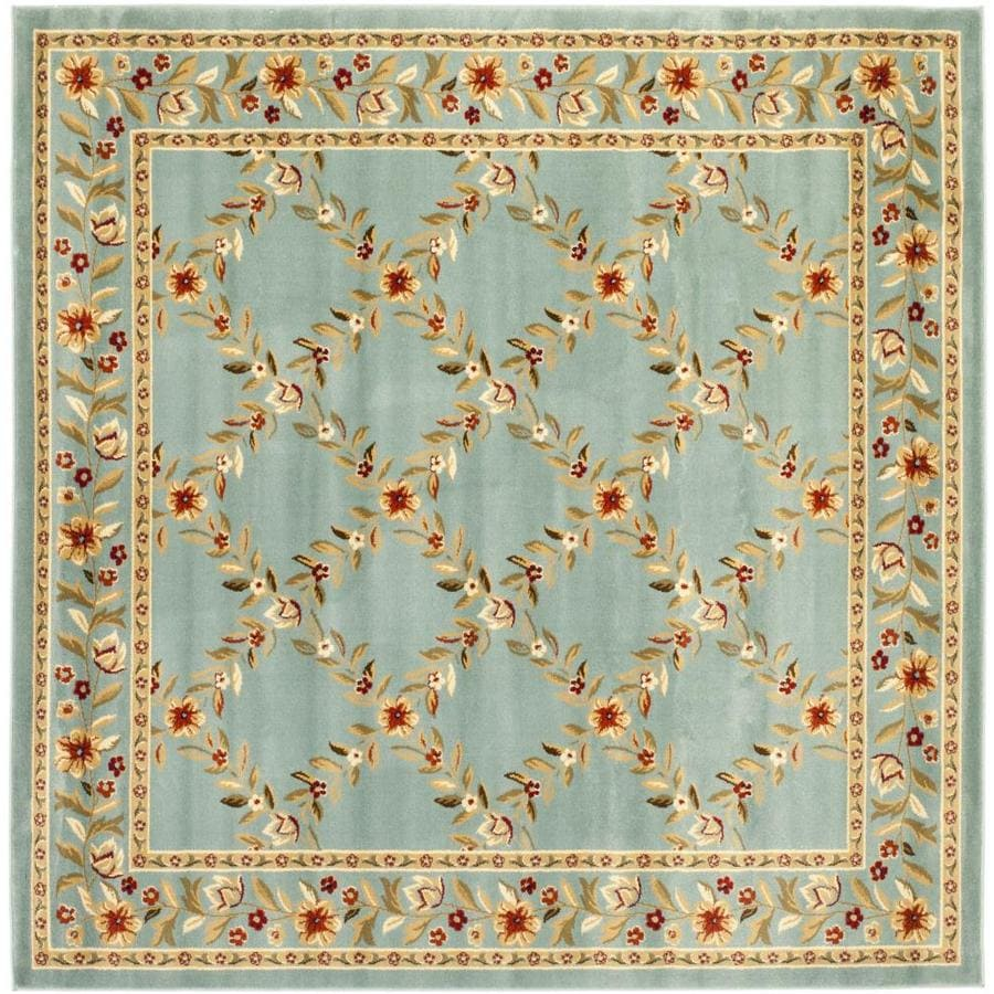 Safavieh Lyndhurst Open Floral Blue/Blue Square Indoor Machine-made Oriental Area Rug (Common: 6 x 6; Actual: 6.583-ft W x 6.583-ft L)