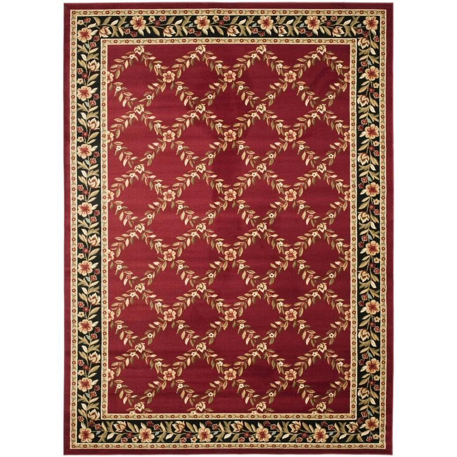 safavieh lyndhurst open floral red black indoor area rug common 7 x 10 actual 6 6 ft w x 9 5. Black Bedroom Furniture Sets. Home Design Ideas
