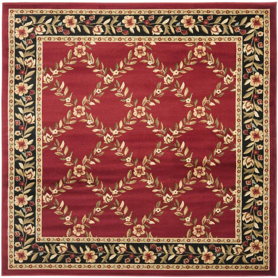 Safavieh Lyndhurst Open Floral Red/Black Square Indoor Oriental Area Rug (Common: 7 x 7; Actual: 6.7-ft W x 6.6-ft L)