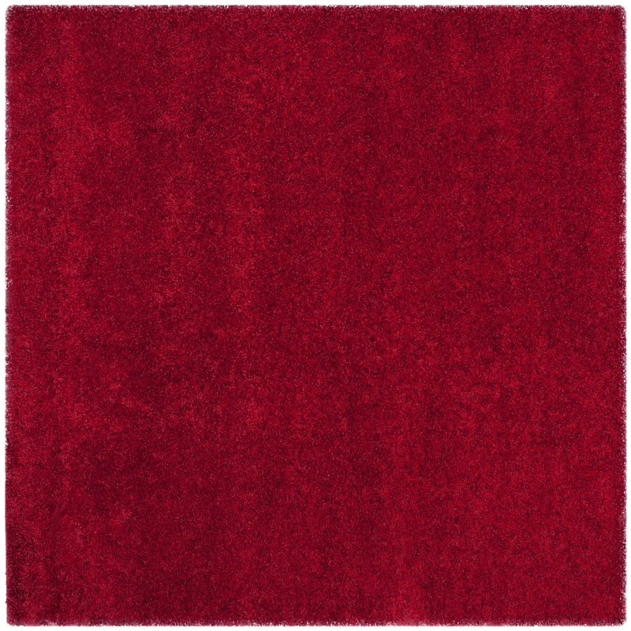 Safavieh California Shag Red Square Indoor Machine-Made Area Rug (Common: 6 x 6; Actual: 6.667-ft W x 6.667-ft L)