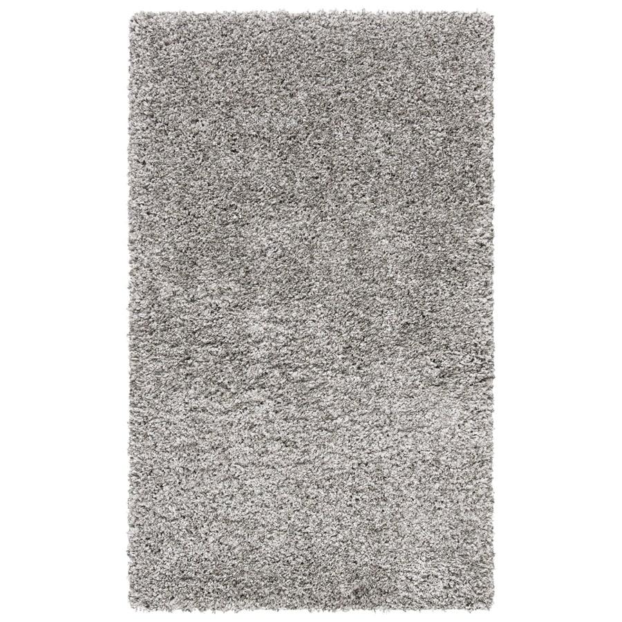 Safavieh California Shag Silver Rectangular Indoor Machine-Made Throw Rug (Common: 3 x 5; Actual: W x L x 0-ft Dia)