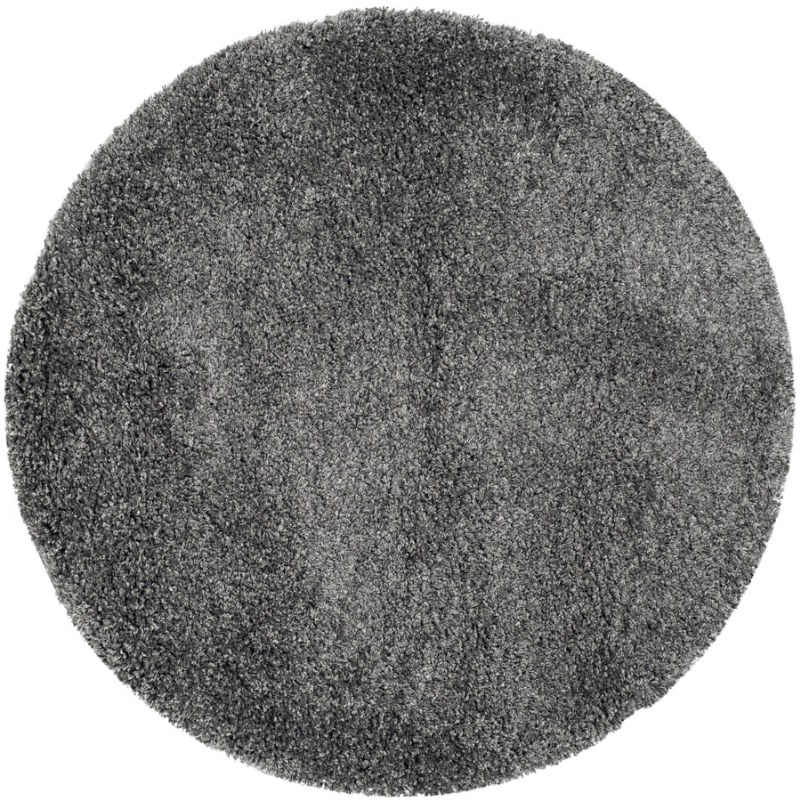 Safavieh California Shag Dark Gray Round Indoor Machine-Made Area Rug (Common: 3.6 x 3.6; Actual: 4-ft W x 4-ft L x 4-ft Dia)