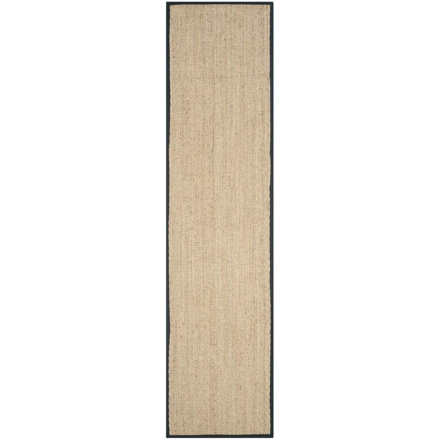 Safavieh Natural Fiber Montauk Natural/Black Indoor Coastal Runner (Common: 2 x 12; Actual: 2.5-ft W x 12-ft L)