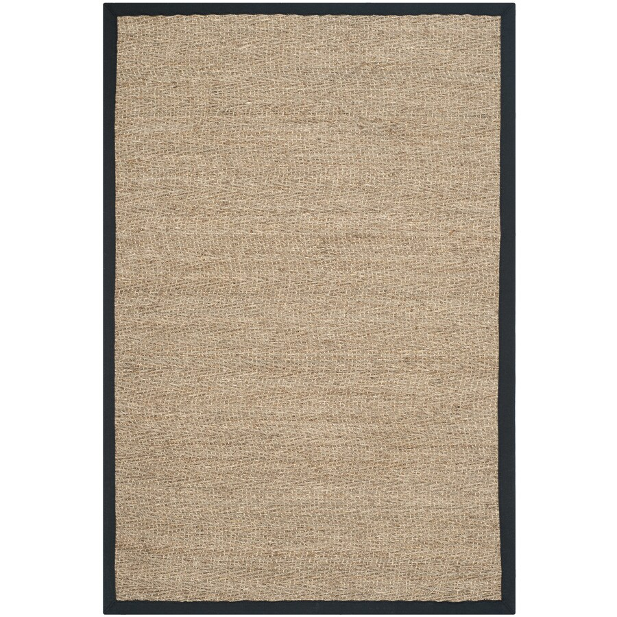 Safavieh Natural Fiber Montauk Natural/Black Indoor Coastal Throw Rug (Common: 3 x 5; Actual: 3-ft W x 5-ft L)