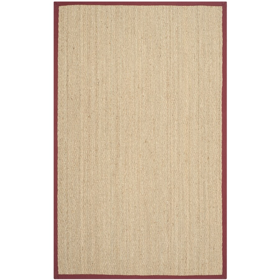Safavieh Natural Fiber Montauk Natural/Red Indoor Coastal Area Rug (Common: 6 x 9; Actual: 6-ft W x 9-ft L)