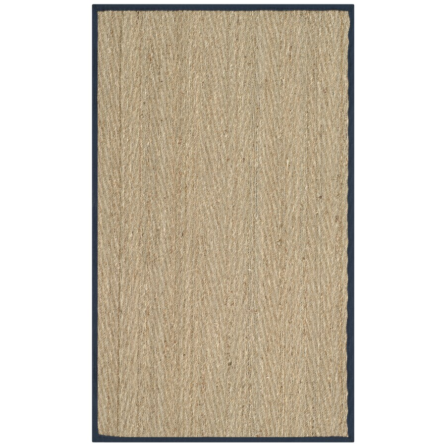 Safavieh Natural Fiber Montauk Natural/Blue Indoor Coastal Throw Rug (Common: 3 x 5; Actual: 3-ft W x 5-ft L)