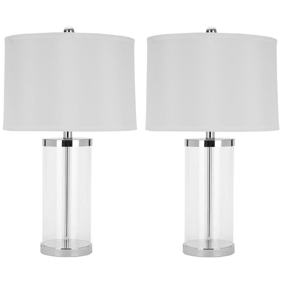 Safavieh 2-Piece Silver Contemporary/Modern Lamp Set with Fabric Shades