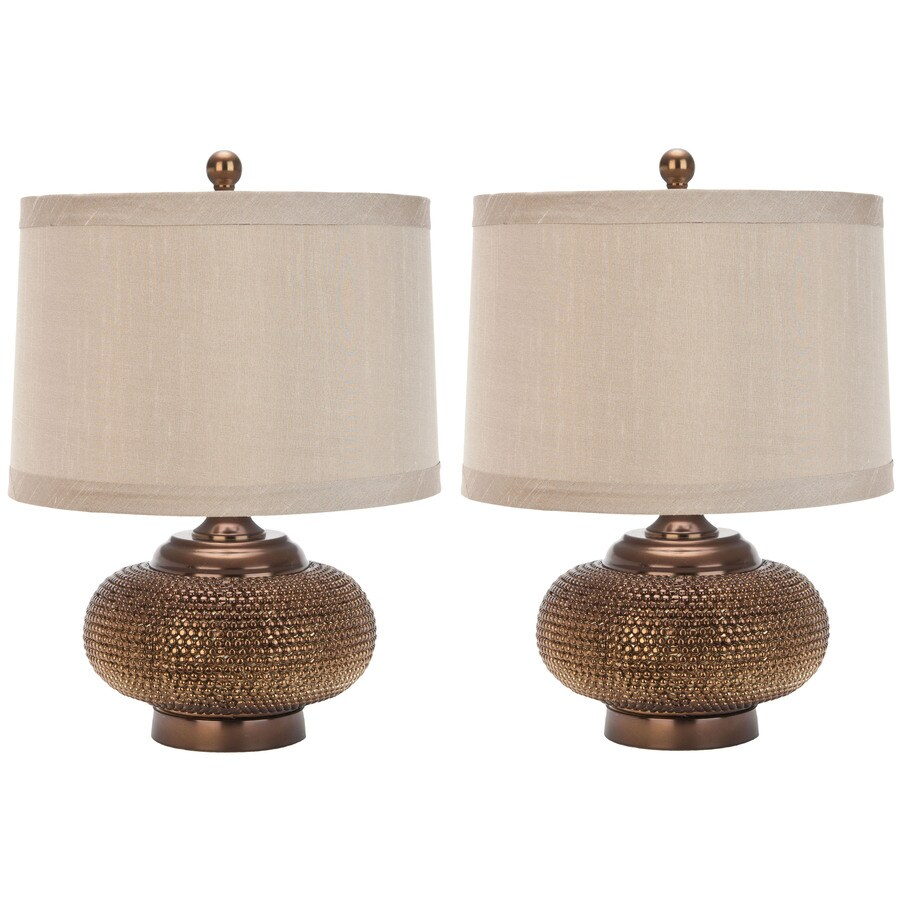 Safavieh 2-Piece Chestnut Lamp Set with Fabric Shades