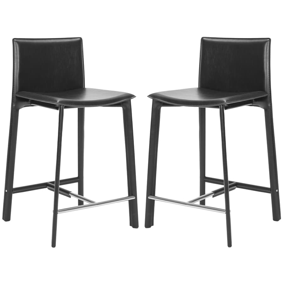 Safavieh Set of 2 Fox Black 24.6-in Counter Stools (22-in to 26-in)