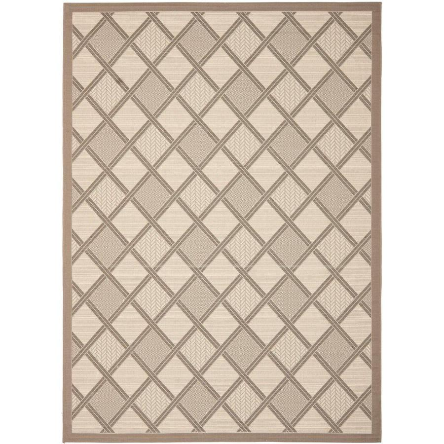 Safavieh Courtyard Beige/Dark Beige Rectangular Indoor/Outdoor Machine-Made Coastal Area Rug (Common: 8 x 10; Actual: 8-ft W x 11.1666666666667-ft L x 0-ft Dia)