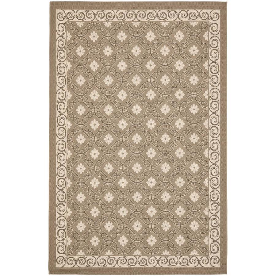 Safavieh Courtyard Lockhart Dark Beige/Beige Rectangular Indoor/Outdoor Machine-made Coastal Area Rug (Common: 4 x 5; Actual: 4-ft W x 5.58-ft L)