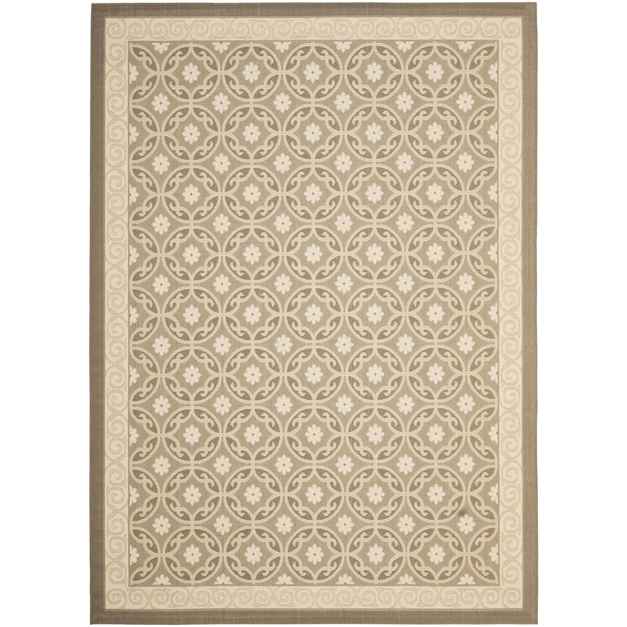 Safavieh Courtyard Beige/Beige Rectangular Indoor/Outdoor Machine-Made Coastal Area Rug (Common: 6 x 9; Actual: 6.58-ft W x 9.5-ft L x 0-ft Dia)