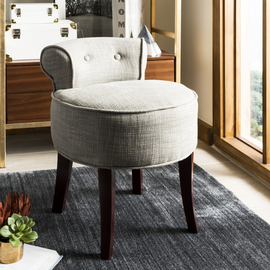 Safavieh 22 8 In H Gray Round Makeup Vanity Stool At Lowes Com