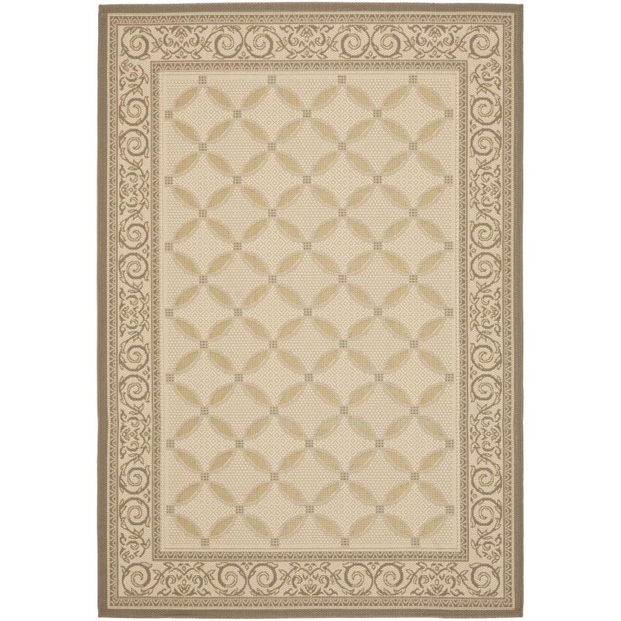 Safavieh Courtyard Beige/Dark Beige Rectangular Indoor/Outdoor Machine-Made Coastal Area Rug (Common: 5 x 8; Actual: 5.25-ft W x 7.5833-ft L)