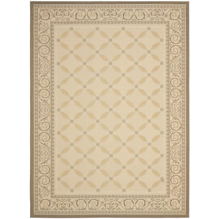 Safavieh Courtyard Beige/Dark Beige Rectangular Indoor/Outdoor Machine-Made Coastal Area Rug (Common: 8X11; Actual: 8-ft W x 11.1666-ft L x 0-ft Dia)