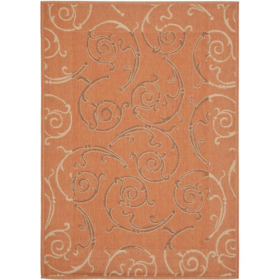 Safavieh Courtyard Gibson Terracotta/Cream Rectangular Indoor/Outdoor Machine-made Coastal Area Rug (Common: 4 x 5; Actual: 4-ft W x 5.58-ft L)
