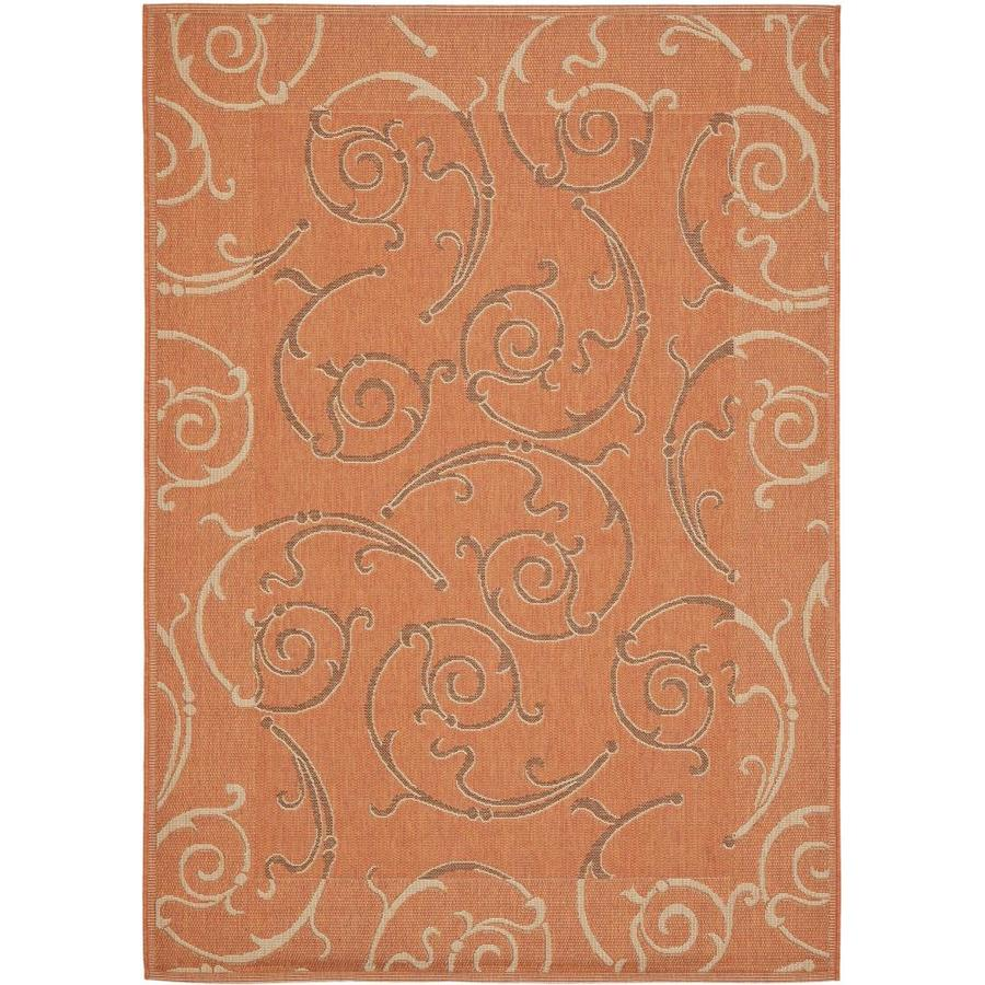 Safavieh Courtyard Gibson Terracotta/Cream Rectangular Indoor/Outdoor Machine-made Coastal Area Rug (Common: 5 x 7; Actual: 5.25-ft W x 7.58-ft L)