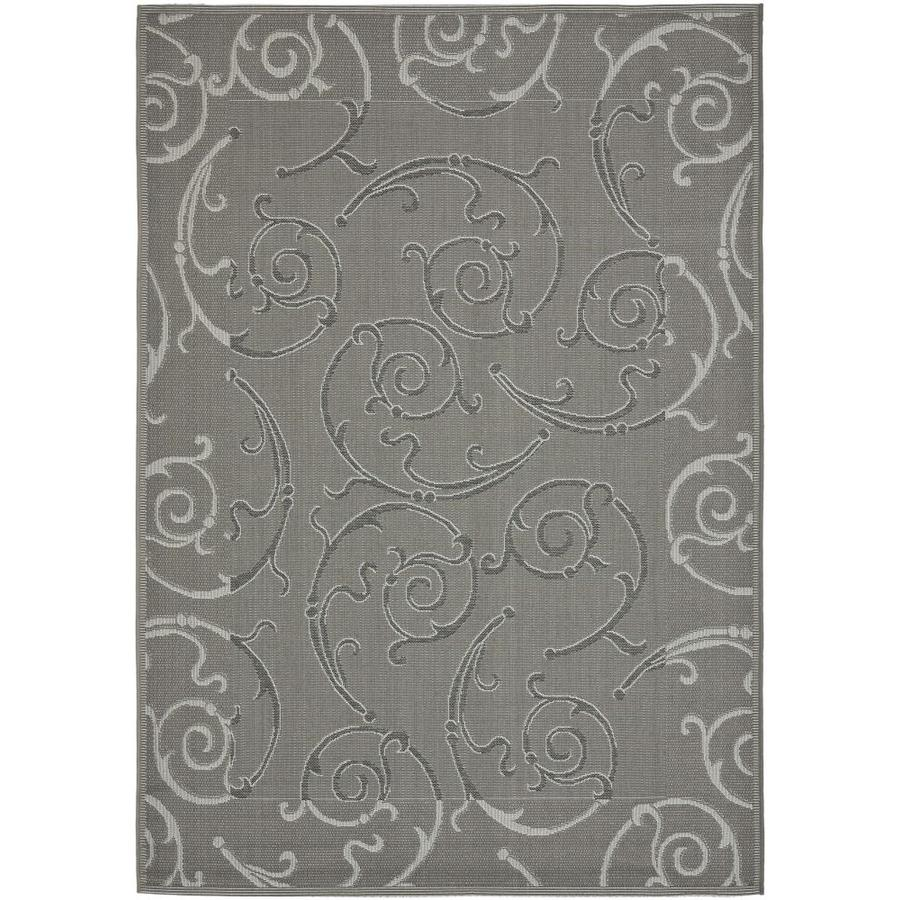 Safavieh Courtyard Anthracite/Light Gray Rectangular Indoor/Outdoor Machine-Made Coastal Area Rug (Common: 5 x 8; Actual: 5.25-ft W x 7.5833-ft L)