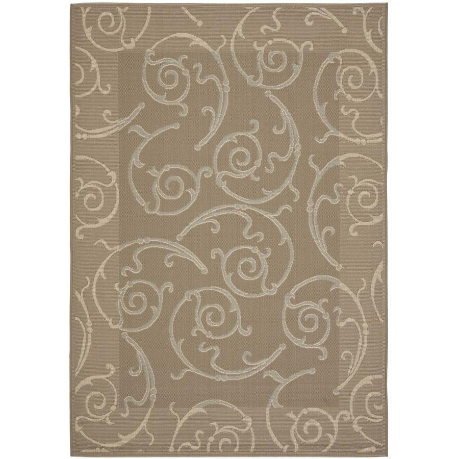 Safavieh Courtyard Dark Beige/Beige Rectangular Indoor/Outdoor Machine-Made Coastal Area Rug (Common: 5 x 8; Actual: 5.25-ft W x 7.5833-ft L)