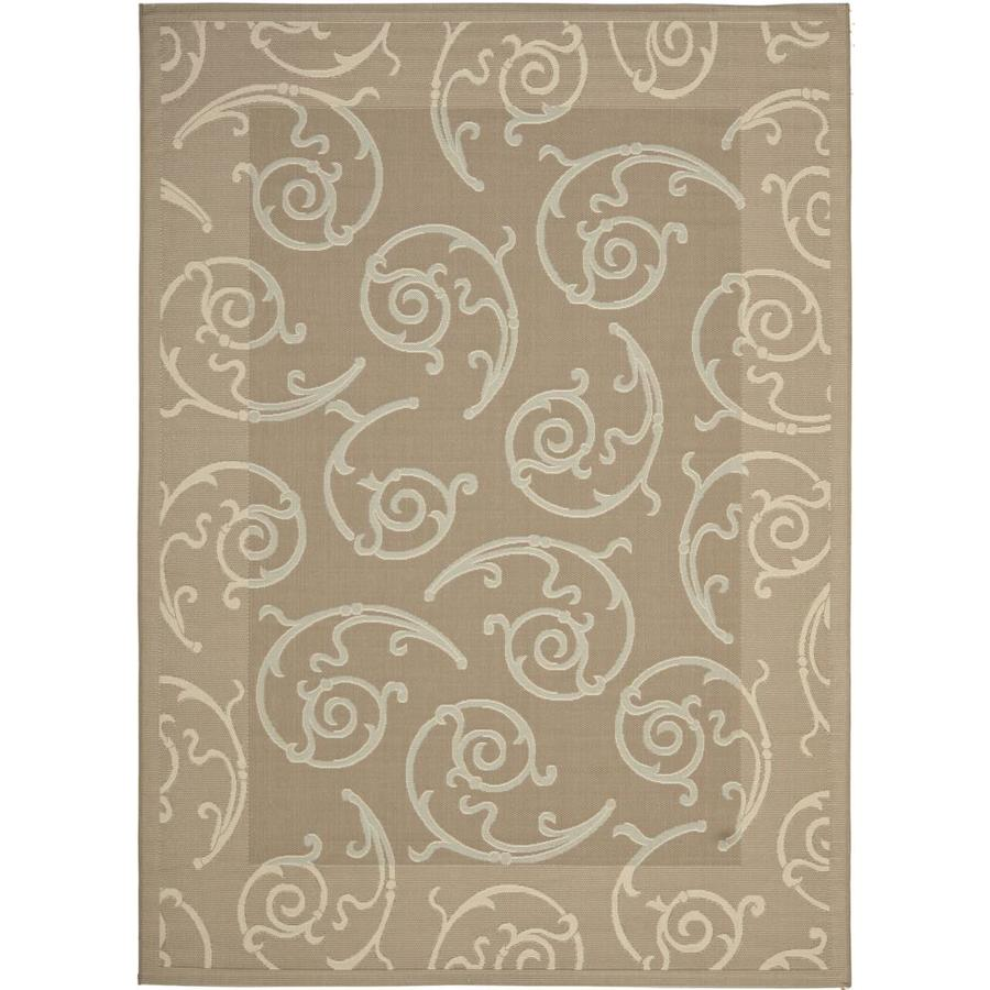 Safavieh Courtyard Gibson Dark Beige/Beige Rectangular Indoor/Outdoor Machine-made Coastal Area Rug (Common: 6 x 9; Actual: 6.58-ft W x 9.5-ft L)