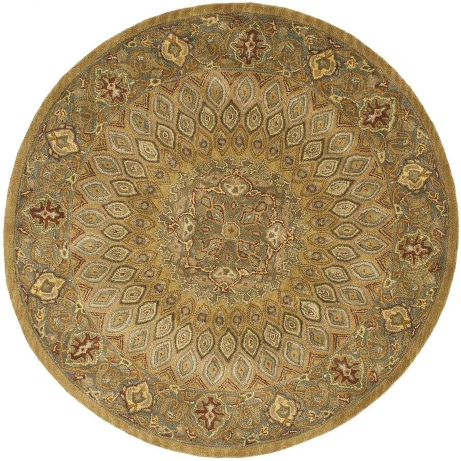 Safavieh Heritage Chador Light Brown/Gray Round Indoor Handcrafted Oriental Area Rug (Common: 8 x 8; Actual: 8-ft W x 8-ft L x 8-ft Dia)