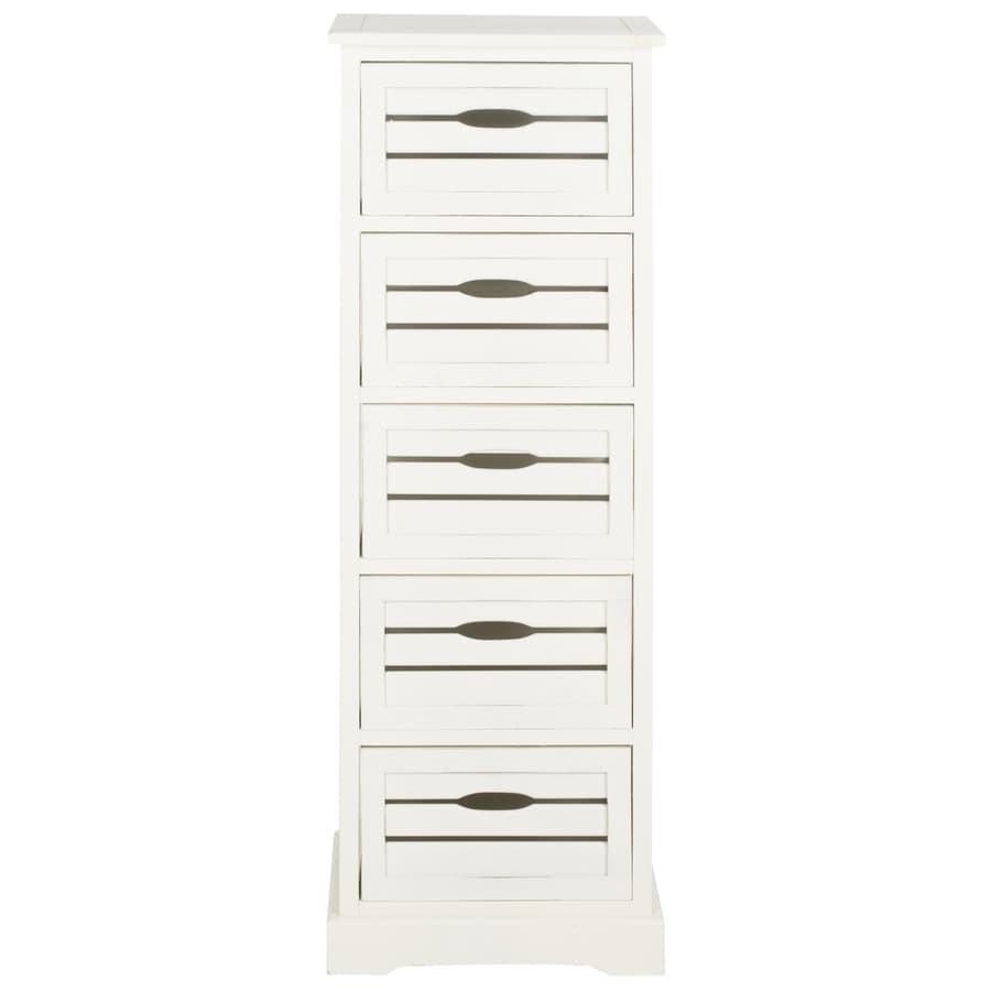 Safavieh 16.5-in x 46.5-in 5-Drawer Distressed Cream Wood Drawer