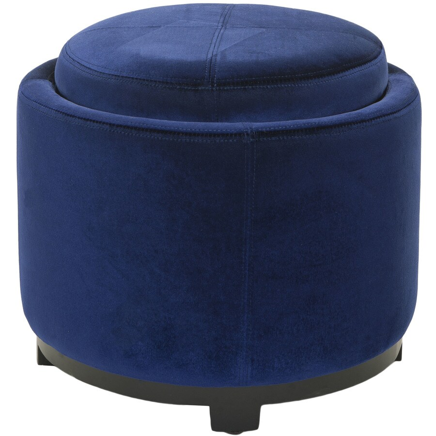 Safavieh Chelsea Casual Royal Blue Velvet Round Storage Ottoman