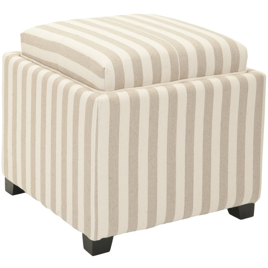 Ottomans Lifestyle Single Ottoman: Safavieh Harrison Single Casual Cream/Tan Stripe Storage
