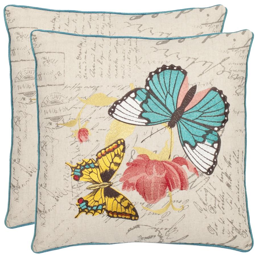 Safavieh 2-Piece 18-in W x 18-in L Multi/Cream Square Indoor Decorative Complete Pillows
