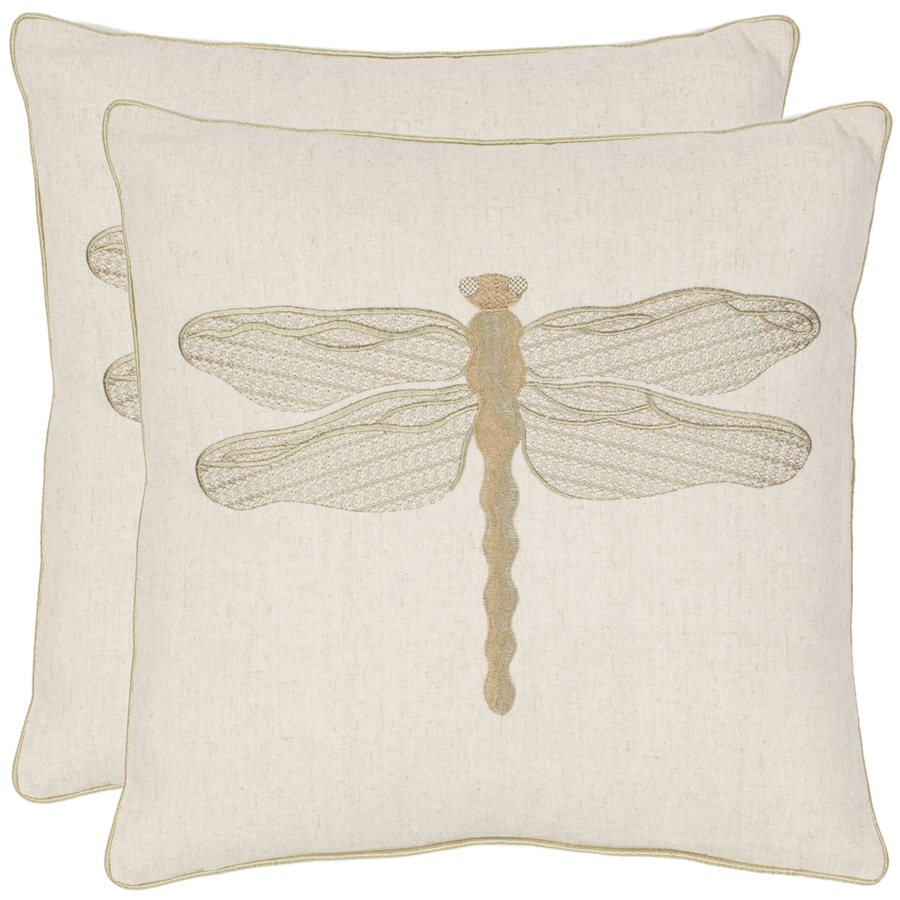 Safavieh 2-Piece 18-in W x 18-in L Cream Square Indoor Decorative Complete Pillows